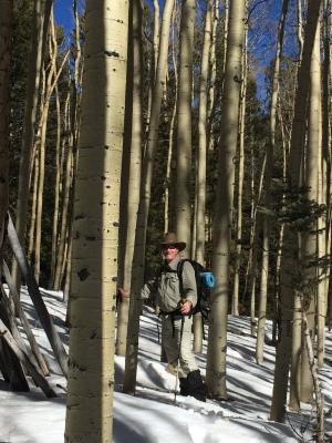 Larry snowshoeing